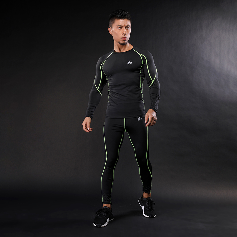 2018 Brand Line Compression Shirt Clothing Long Sleeve T Shirt + Leggings Fitness Sets Quick Dry Crossfit Fashion Suits