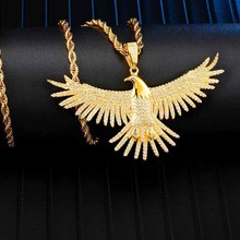 цена на Full Iced Out Bling Eagle Rhinestone Rope Chain Gold Color Pendants & Necklaces For Men Hip Hop Jewelry Dropshipping