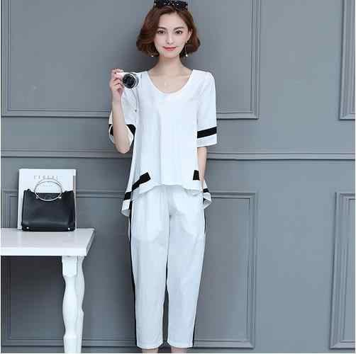 プラスサイズのスーツ女性 2 ピースショートトップとパンツ夏気質女性大サイズの服セット白と黒 LJ781