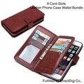 9 SLOTS de cartão de couro de luxo tampa do telefone para o iPhone 6 6 s i6 caso Smartphone telefone bolsa carteira bolsa Celular 179