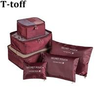 6 шт./компл. высокое качество Oxford Тканевые для путешествий Чемодан органайзер Bag Для женщин Для мужчин куб для упаковки для Костюмы косметичк...