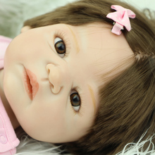23 Inch Doll Reborns Handmade Newborn Silicone Baby Dolls Girl Body Silicone Vinyl Babies With Synthetic Hair Kids Birthday Gift