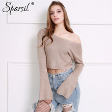 Sparsil Women Waist Exposed Knitted Pullovers Front&Back Big V-Neck Sweaters Short Design Flare Sleeves Sexy Slim Knitwear