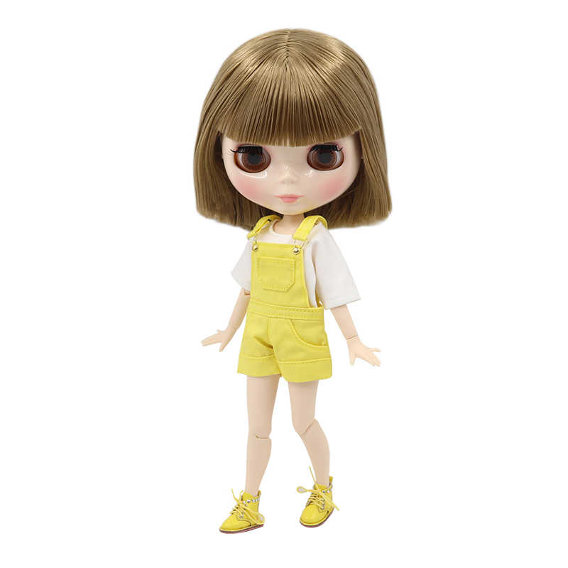 Фабрика blyth кукла bjd короткие коричневые волосы прямые/волнистые волосы тело 30 см белая кожа, кукла без одежды
