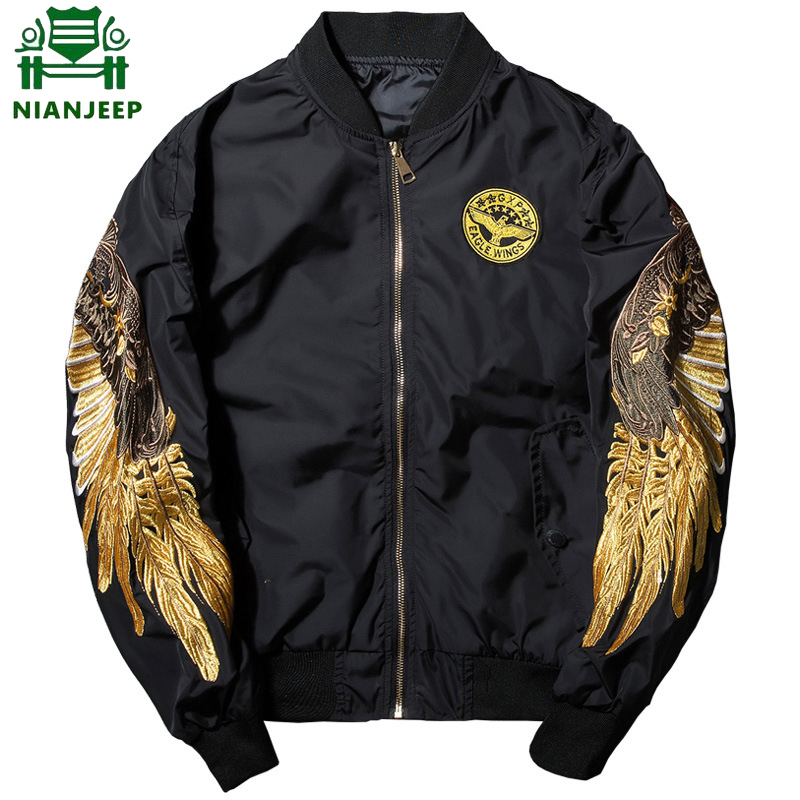 Flight Jacket Embroidery Ma1 Bomber Street-Clothing Hip-Hop Golden Young Men