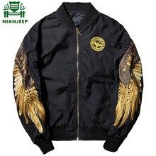 2018 весна осень куртка Вышивка Золотой куртка с вышивкой «крылья» MA1 куртка лётчика бомбардировщика молодые мужчины хип-хоп одежда для пребывания на открытом воздухе Орел куртка