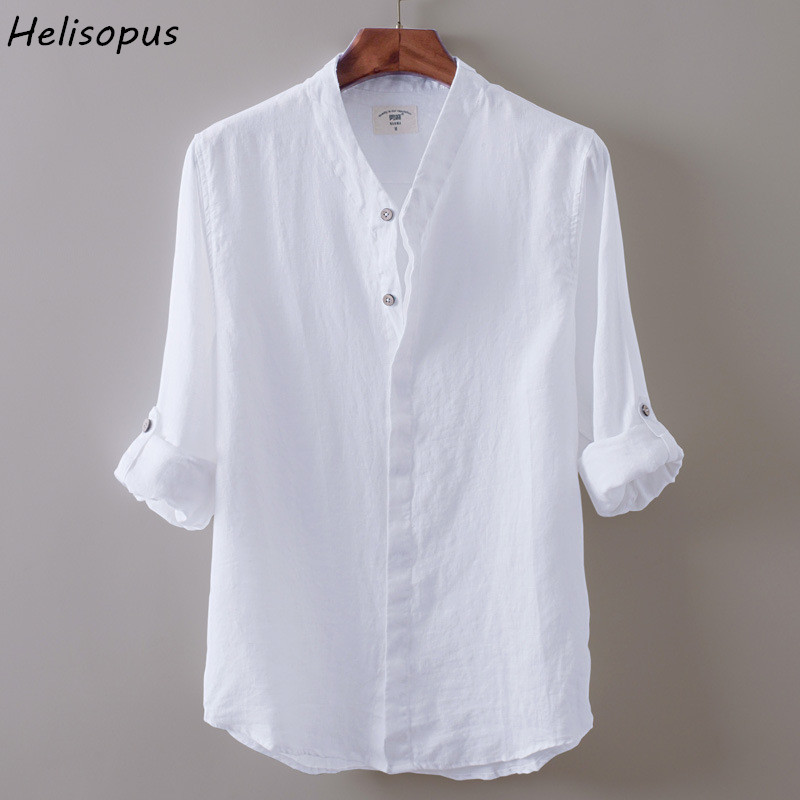 Helisopus mens casual white shirts long sleeve cotton for Soft cotton dress shirts