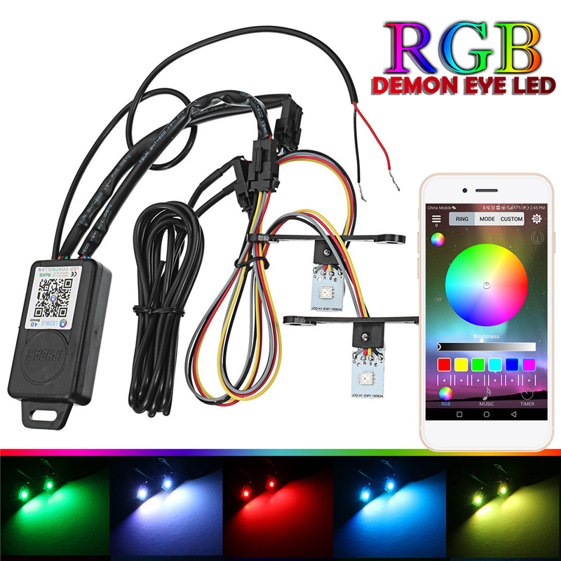 Car Headlights Retrofit RGB Demon Eye Halo Ring font b Lamp b font Bulb LED Running