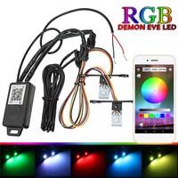 Car Headlights Retrofit RGB Demon Eye Halo Ring Lamp Bulb LED Running Light Kit Bluetooth APP Control Halo Ring Lamp module