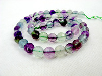 Top Quality Natural Rainbow Fluorite Stone Bead 8mm Faceted Round Loose Stone Jewelry Bead For Jewelry