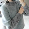 MCCKLE женская 2017 весна кролик меховой моды пуловеры и свитера дамы полный рукавом толстый теплый свободные повседневный трикотаж топы