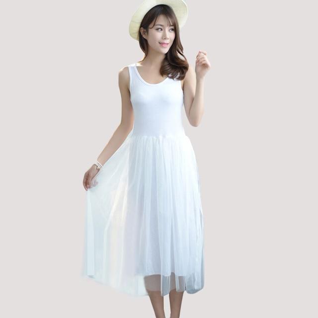 R 4157 49 De Descontonovo Modal De Algodão Vestido De Colete Magro Solto Casual A Line Lace Malha Mulheres Vestido De Verão Moda Vestido Sem