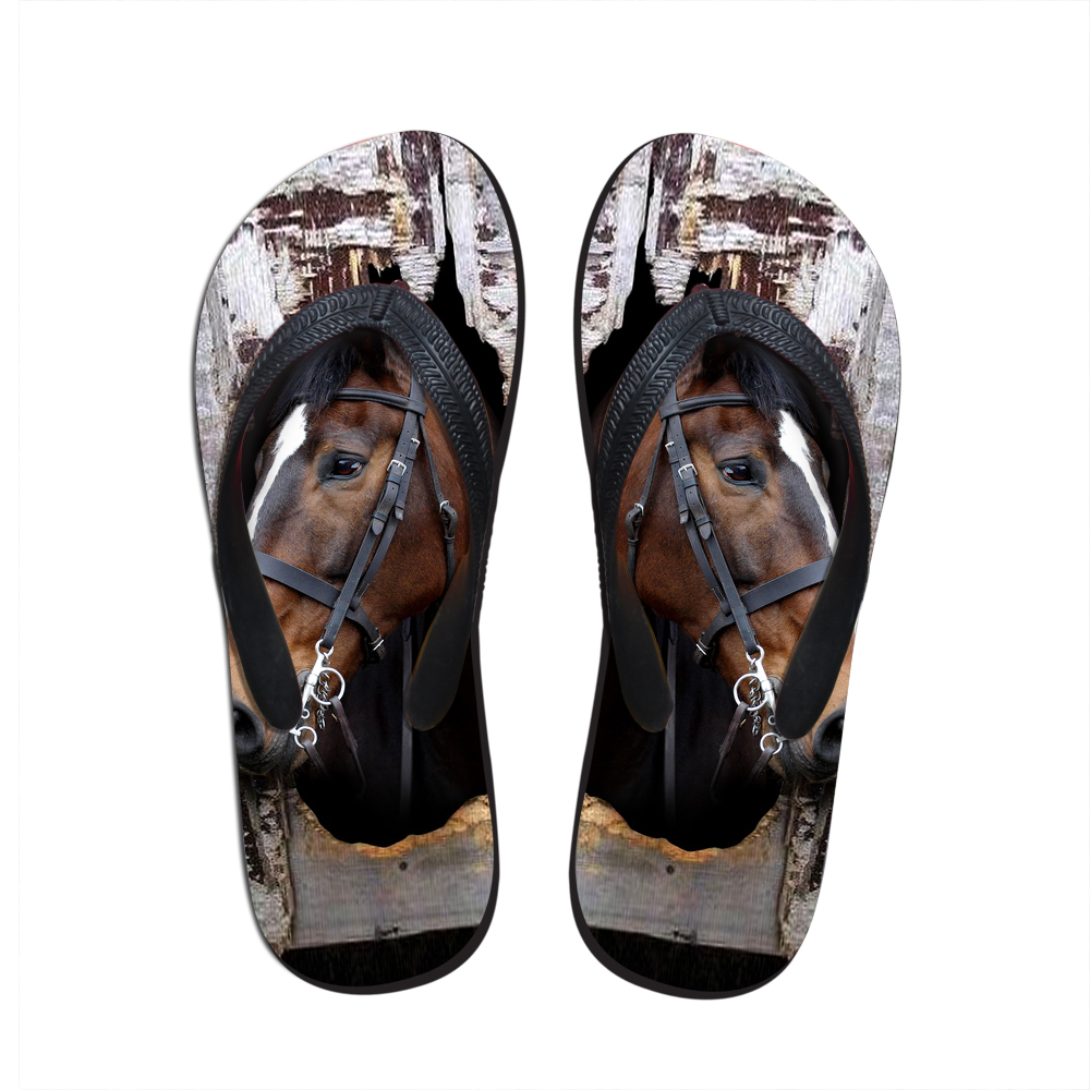 Noisydesings New Women Casual Flip flops Cute Horse Pattern Summer - Kasut wanita
