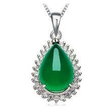 Женское серебряное ожерелье 925 пробы Зеленые Подвески из корунда