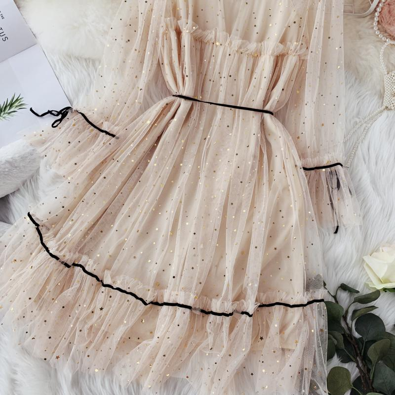 HISUMA spring autumn new women Star sequins gauze flare sleeve lace-up Princess dress female elegant o-neck mesh puff dresses 9