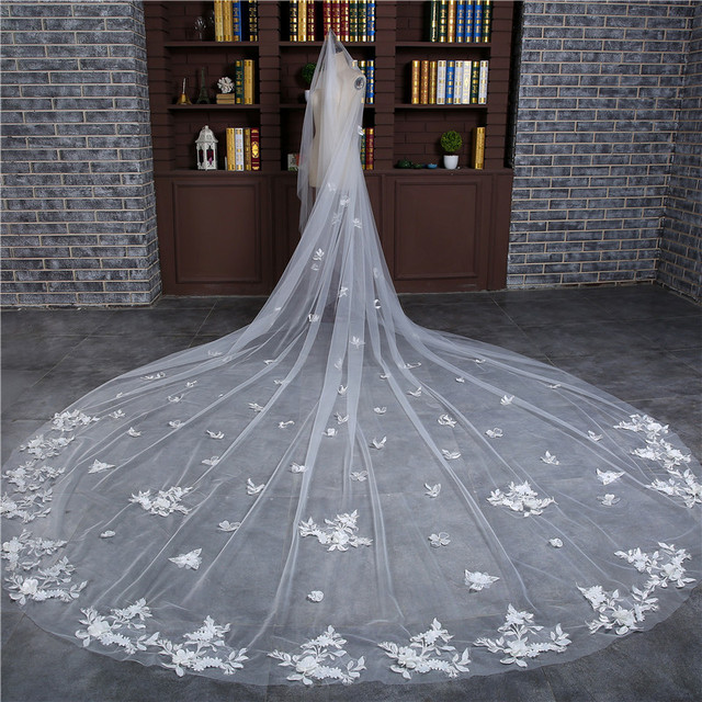 Hot Sale  Meter Veu De Noiva Wedding Accessories Appliques One Layer Cut