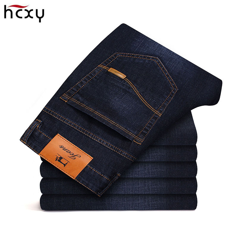 2018 New Solid Men's   Jeans   men Business Casual Thin Slim Blue   Jeans   Stretch   Jeans   Trousers Classic Denim male large size28-42