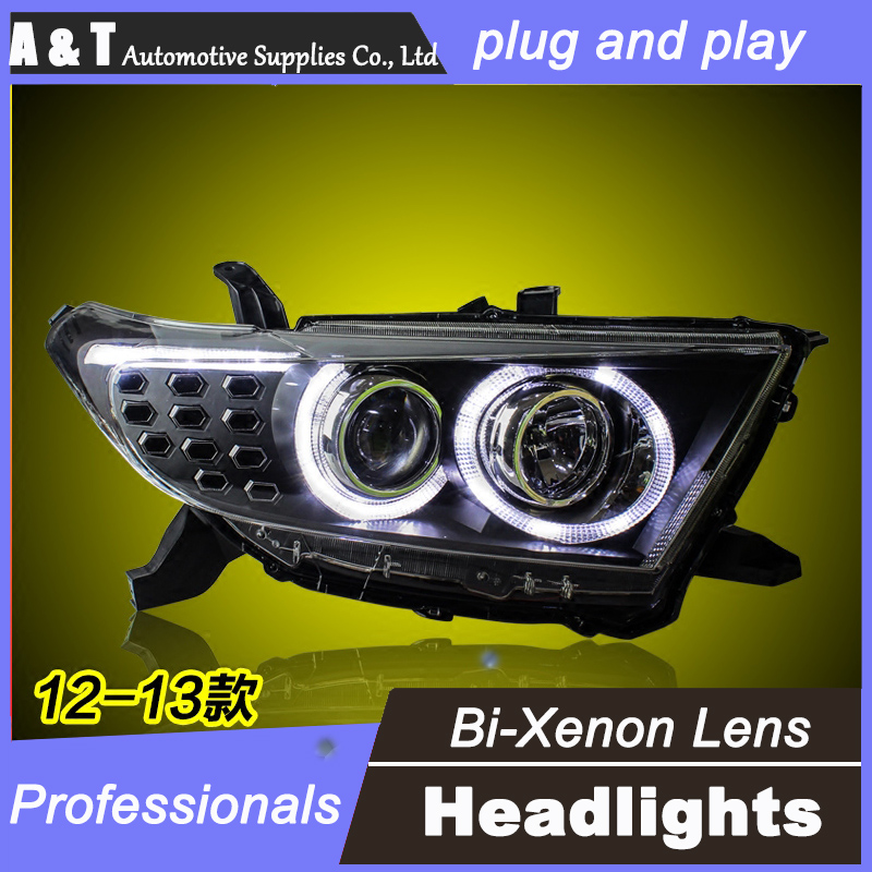 car styling For Toyota Highlander headlight assembly angel eyes 2012-13 For Highlander h7 with hid kit 2 pcs.