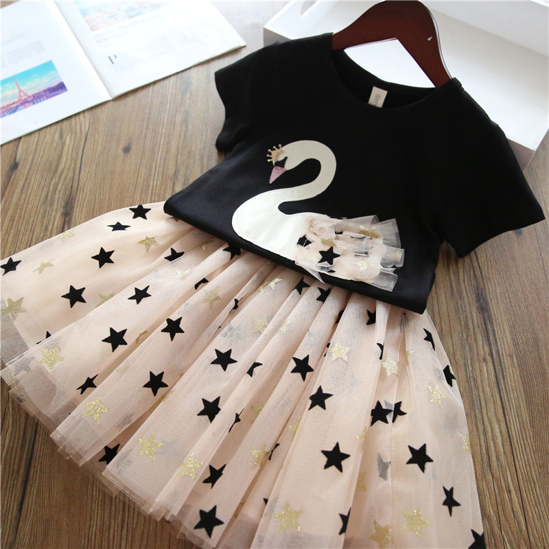 Girls Dress 2019 Summer New Baby Girls Clothing Sets Cartoon  Flamingo T-Shirt+ Bling Star Dress 2Pcs Girls Clothes Casual Wear(China)