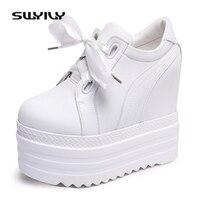 SWYIVY Women S Vulcanize Shoes Women Sneakers 2017 Platform 14cm Wedge Heel Women Sneakers White Female