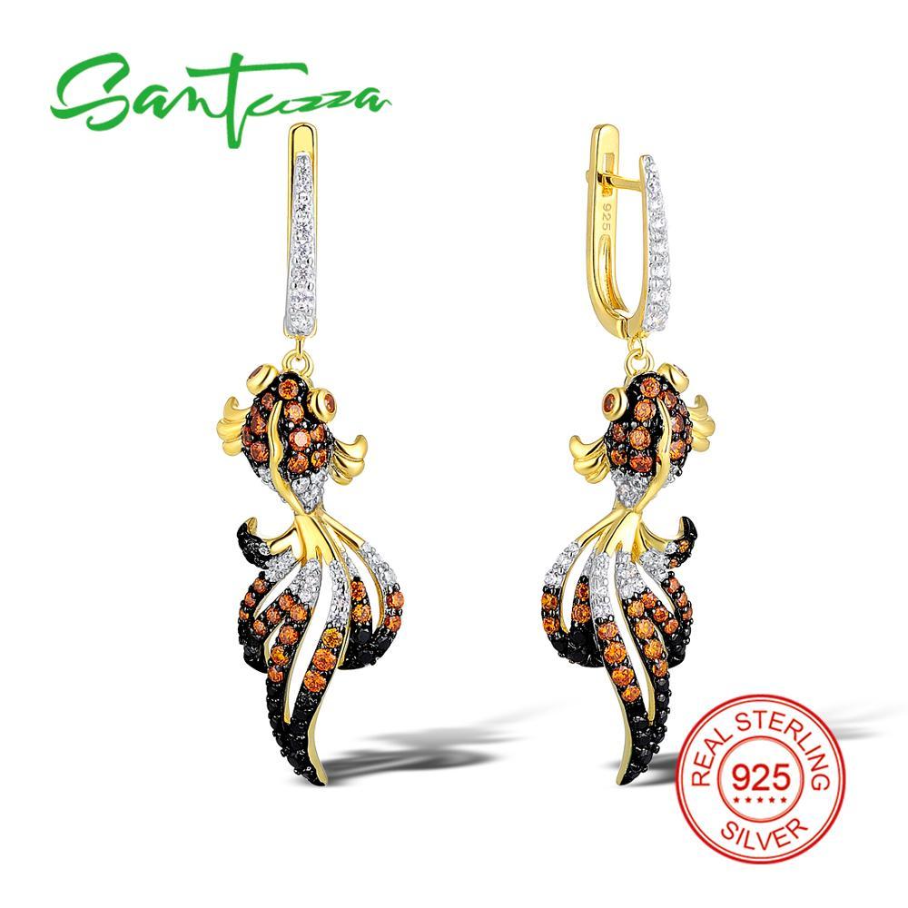 SANTUZZA Silver Fish Earrings For Women 925 Sterling Silver Dangle Earrings Silver 925 Gold Color Cubic Zirconia brincos Jewelry fancy blue cubic zirconia 925 sterling silver drop dangle earrings for women s0209