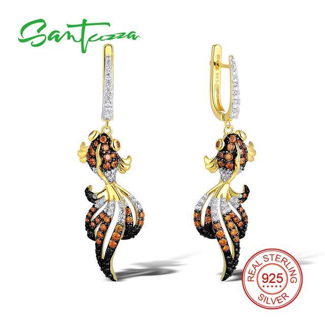 Santuzza Silver Fish Earrings For Women 925 Sterling Dangle Gold Color Cubic