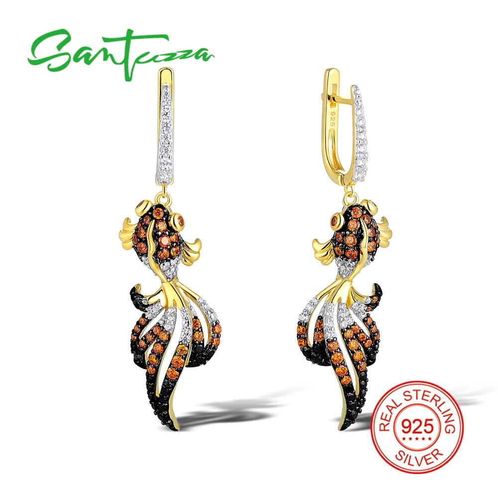 Silver Fish Earrings Black Spinels CZ GoldFish Earrings 925 Sterling Silver Party Fashion Jewelry