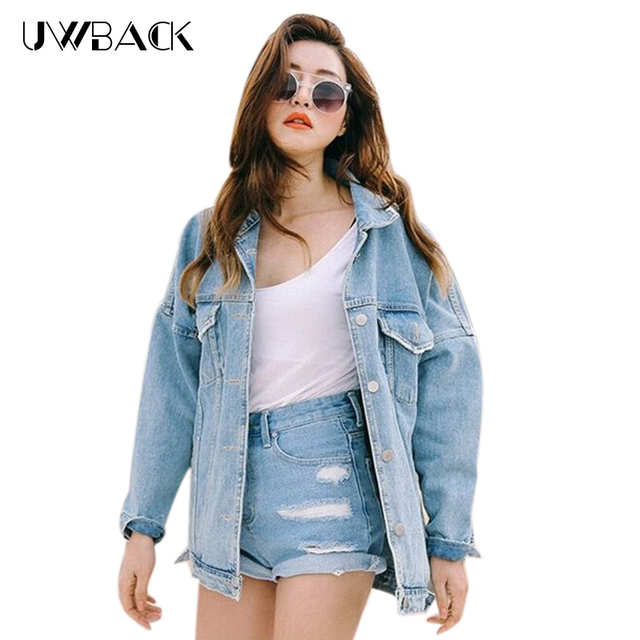 Uwback 2017 New Brand Oversized Denim Jacket Women Windbreaker Loose Jeans Jacket Women Washed Boyfriend Denim Jackets CBB148