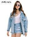 Uwback 2017 nueva marca de gran tamaño chaqueta de mezclilla mujeres chaqueta cazadora pantalones vaqueros flojos mujeres novio washed denim chaquetas cbb148