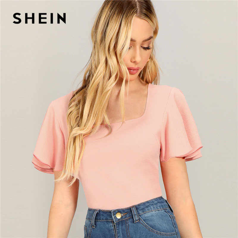SHEIN Pink Casual Square Neck Flutter Sleeve Solid Textured T-shirt 2019 Summer Women Going Out Minimalist Short Sleeve Tee Top