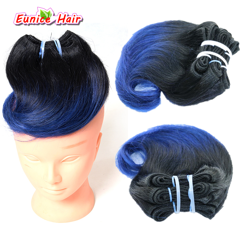 Ombre Hair piece #1B/Blue 8inch Human Brazilian Body Wave Hair Short Weave Hair Weft Blonde Hair Extension For Women Hairstyle