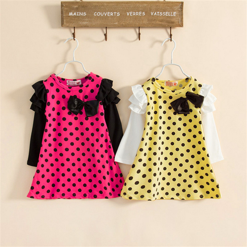 Spring Autumn New Kids Baby cotton Casual Dot Bow decoration Long sleeve Princess Dress girls Puff Sleeve clothes Fit 1-6 years