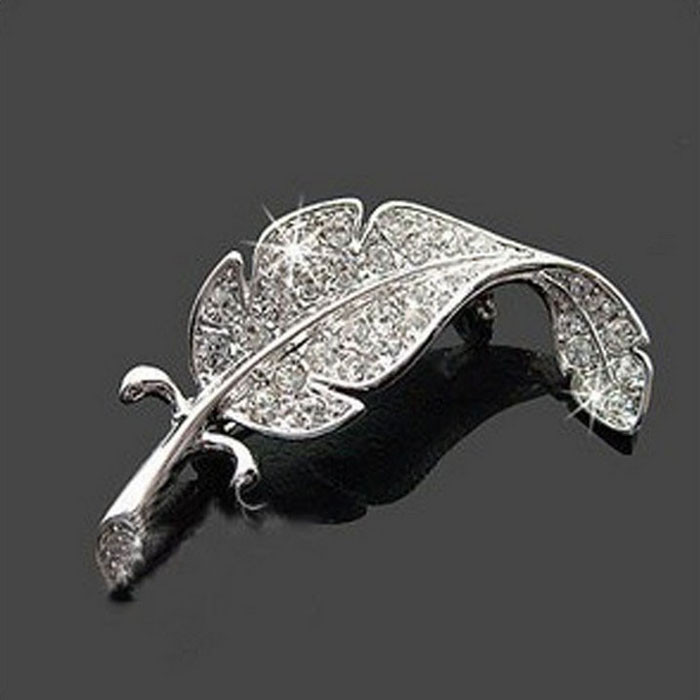 Fashion Simple Brooch Gift New Retro Vintage Cute Beautiful Leaves Feather Brooch Silver Wholesale & Drop Shipping #117