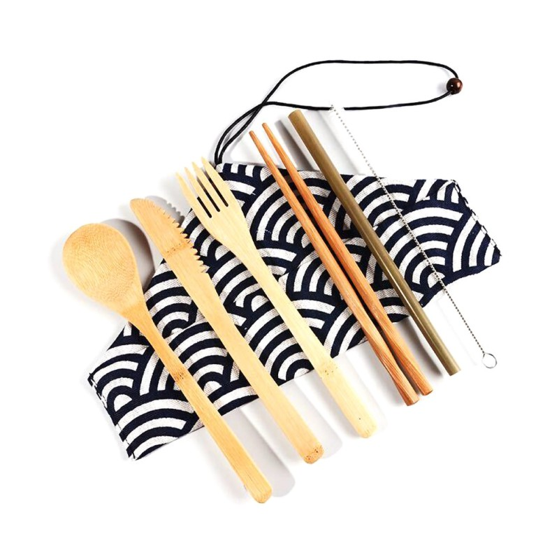 Japanese-style Wooden Dinnerware Set Travel Outdoor Camping Tableware Portable Bamboo Straw Cutlery