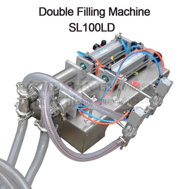 Pneumatic double nozzle dosing filler liquids piston soft beverage filling machine food juice water bottling equipment 100ml,
