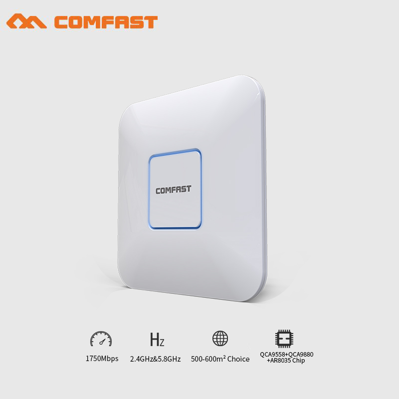 все цены на COMFAST wireless indoor Ap 1750Mbps Ceiling AP 802.11AC dual band wifi router with 48V POE 16 Flash OpenWRT WiFi Access Point AP онлайн