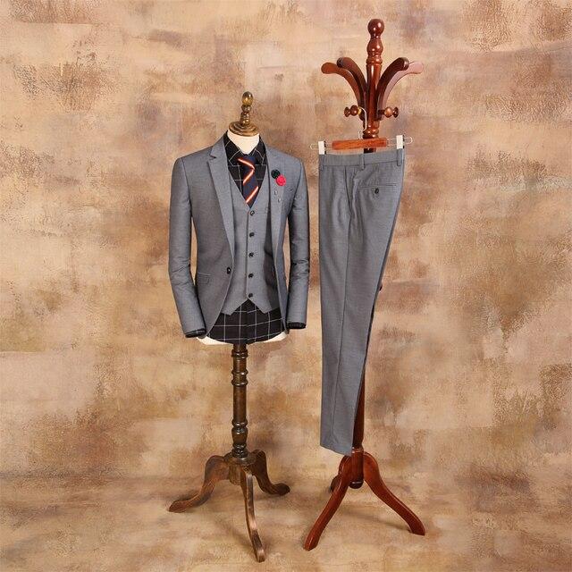 Men's suits three Piece Sets Suit Jacket Man British Gray Korean Business Blazers Mens Wedding Dress Suits Waistcoat CBTZ003
