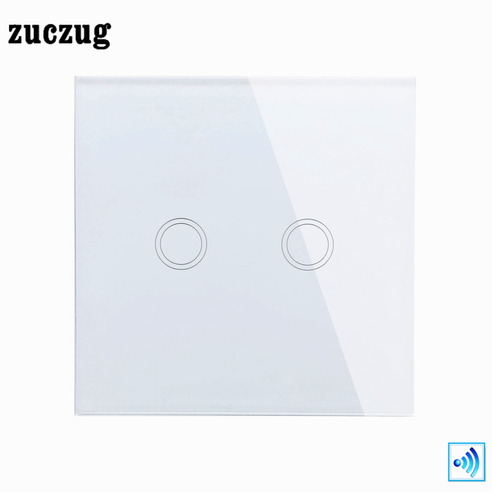Luxury Smart home Wall Switch EU Remote Control Switch, 2 Gang 1 Way Touch Button Switch White Crystal Glass Zuczug 110-240v smart home us au wall touch switch white crystal glass panel 1 gang 1 way power light wall touch switch used for led waterproof
