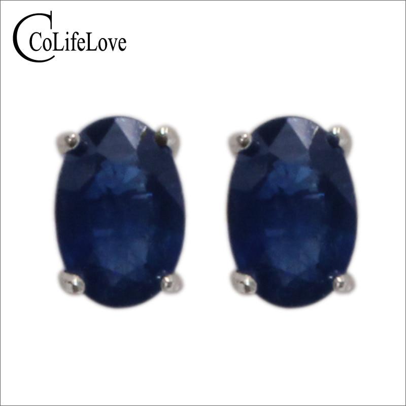 100% genuine sapphire stud earrings 4 mm* 6mm dark blue sapphire gemstone earrings simple 925 silver sapphire earrings for girl