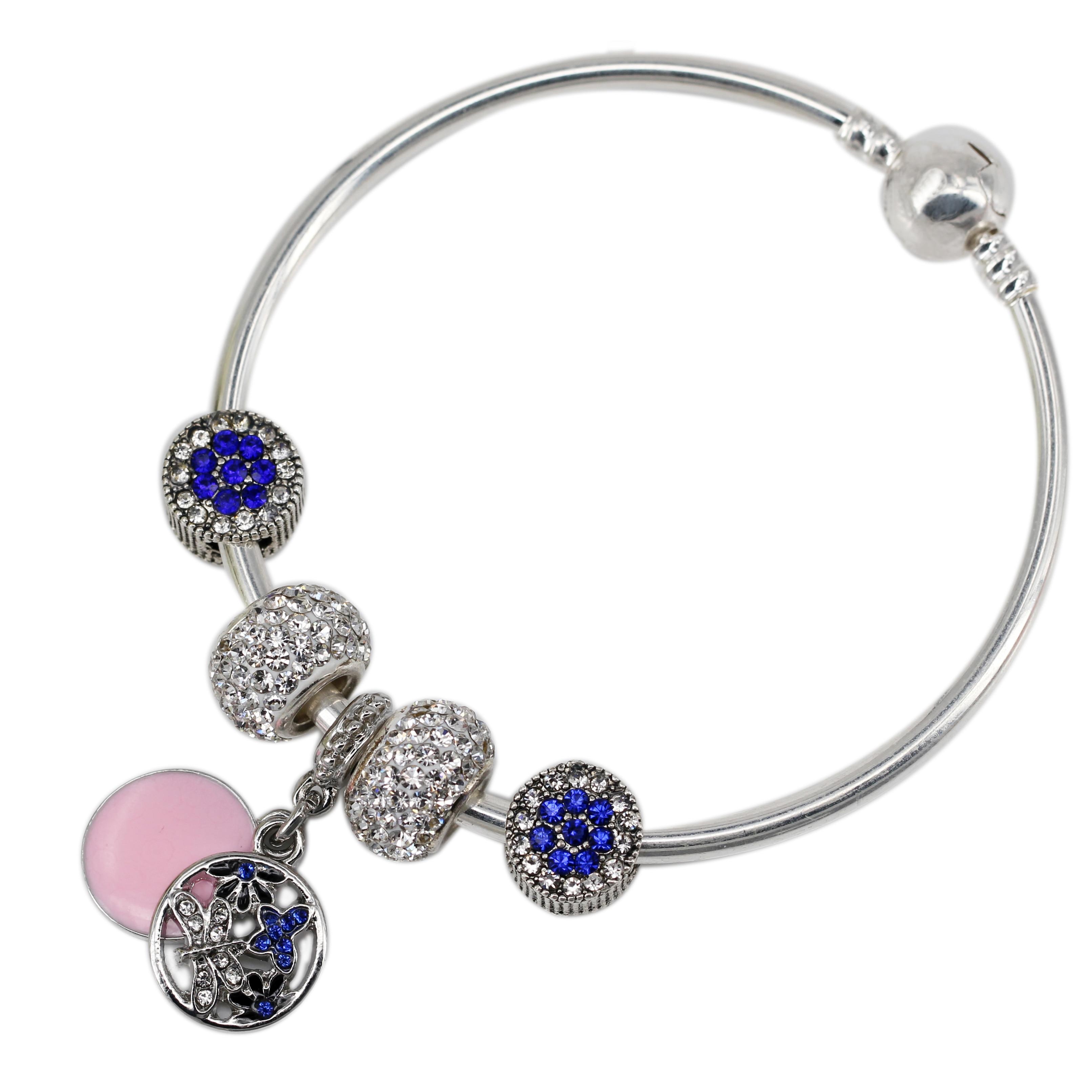ჱcrystal Blue Butterfly Hanging Silver Clear Crystal Silver Plated
