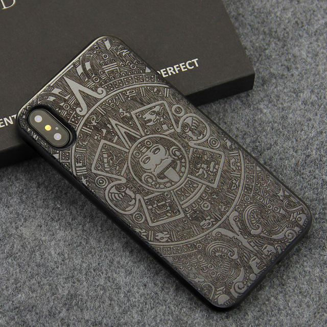 For iPhone X XS Case Luxury Carving Wooden Grain and Flexible TPU Silicone Hybrid Slim Phone