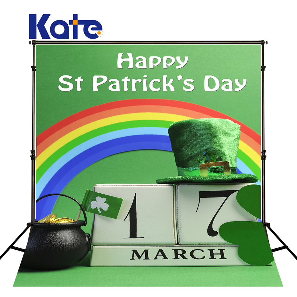 KATE 5x7ft St. Patrick's Day Backdrops Green Solid Background Rainbow Children Backdrop Clover and Hat Backdrop for Stuido green top shirt my 2nd st patrick day rainbow clover girls skirt outfit set 1 8y