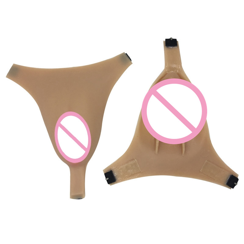 Fake Vagina for Crossdresser Drag Queen Silicone Underwear Transgender Artificial Fake Pussy with Catheter Breast Forms
