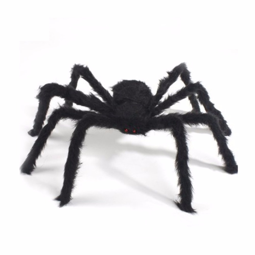 black spider tricky toy imitated stuffed toys haunted house props halloween decoration black spider plush toy - Halloween Decorations Spiders