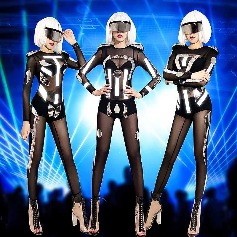 Jazz Dance Costumes Sexy Black Mesh Jumpsuit Ladies Nightclub Bar Pole Dancing Clothes Female Singer Dancer Stage Rompers DT566