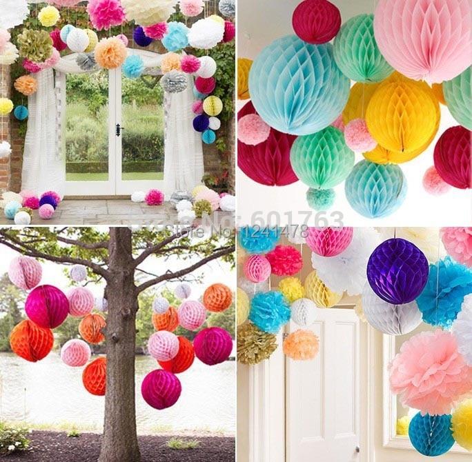 24 Colors Tissue Pastel Paper Honeycomb Flower Panel Party Event Home Decoration 12inch 30cm
