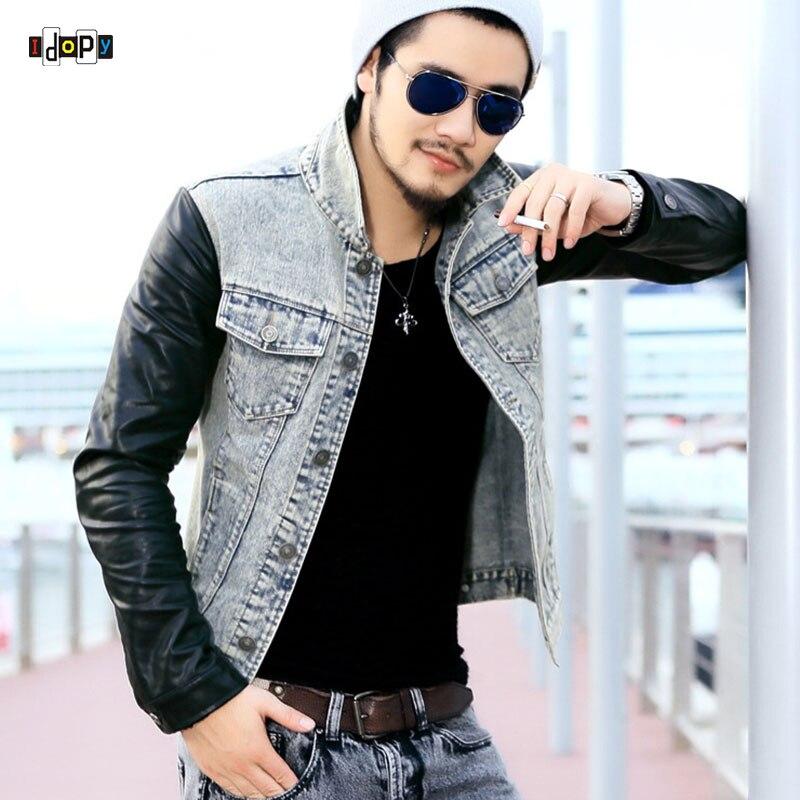 Fashion Men`s Denim Jacket With Leather Sleeves Slim Fit Vintage Patchwork Acid Washed J ...
