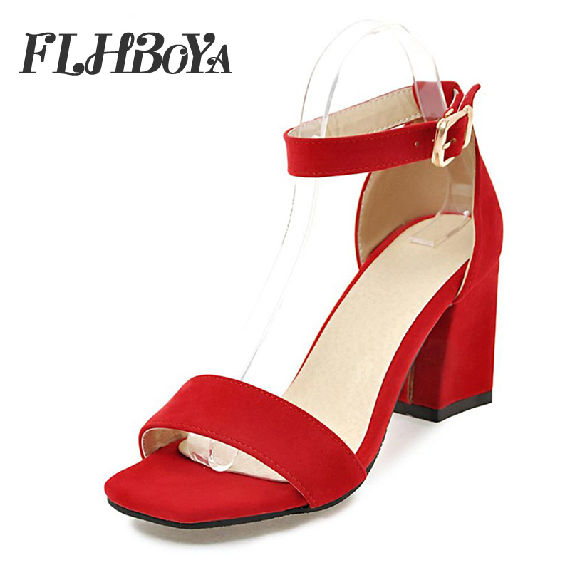 39cee302f44 Sandals women 2019 summer med square chunky heels red black Buckle ankle  strap high Block heel open toe party sandals woman pump - aliexpress.com -  imall. ...