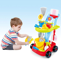 Kids Cleaning Set Watering Can Trowel Shovel Pretend Potted Flower Gardening Trolley Simulation Repair Tools Cart Toy Set