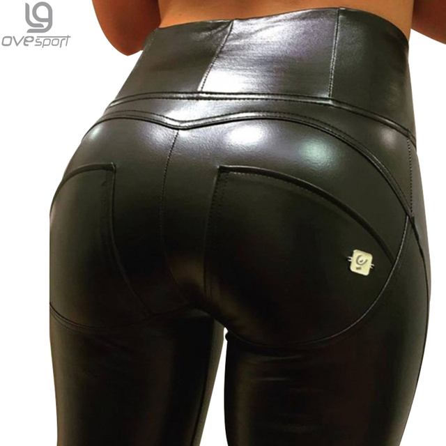 Women Leather Trousers Female High Waist Elastic Pants Skinny Slim Standard Ankle-length  Plus Size Push Up Leggings Hip